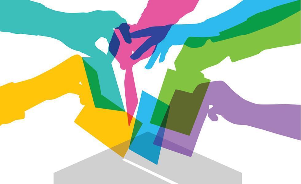 Piirroskuva erivärisistä käsistä, jotka laittavat äänestyslippuja uurnaan.